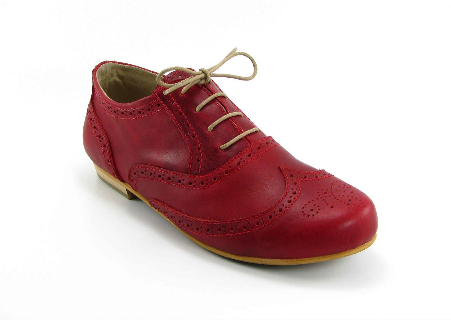 Zapatos Para Mujer En Cuero Rojo